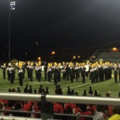 Marching band on football field