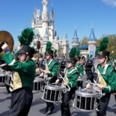 Band marching in front of Castle